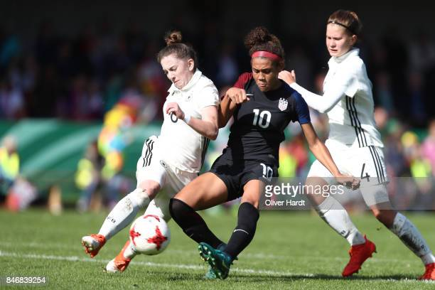 Nina Schumacher of Germany and Trinity Rodman of United States compete for the ball during the Girls U16 international friendly match between Germany...