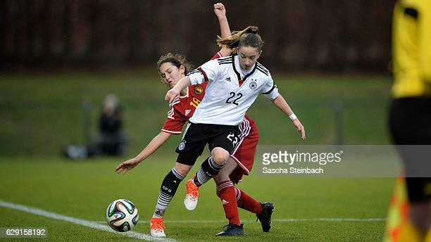 Nina Schumacher of Germany battles for the ball during the U15 Girl's international friendly match between Belgium and Germany on December 11 2016 in...