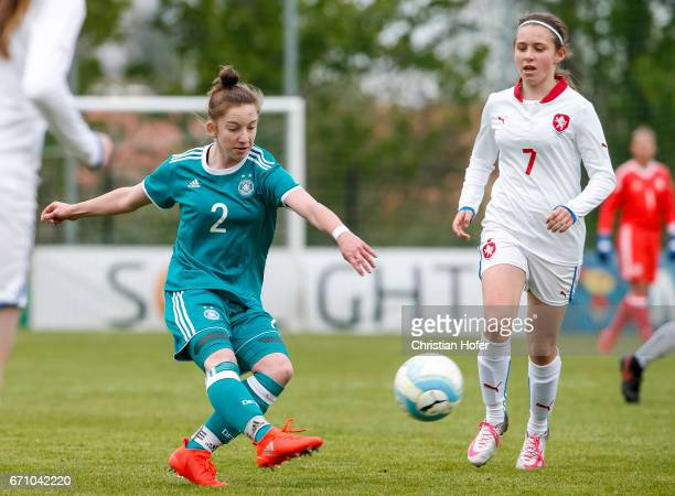 Nina Schumacher of Germany challenges Katerina Furikova of Czech Republic for the ball during the Under 15 girls international friendly match between...