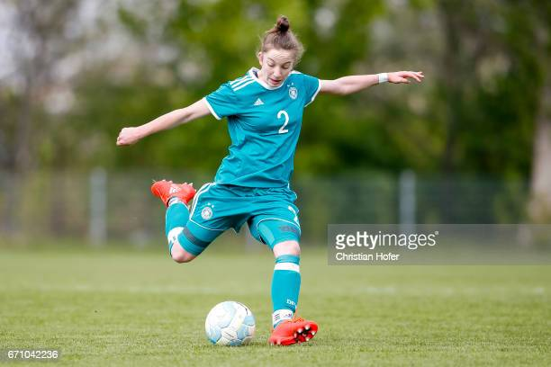 Nina Schumacher of Germany controls the ball during the Under 15 girls international friendly match between Czech Republic and Germany on April 19...