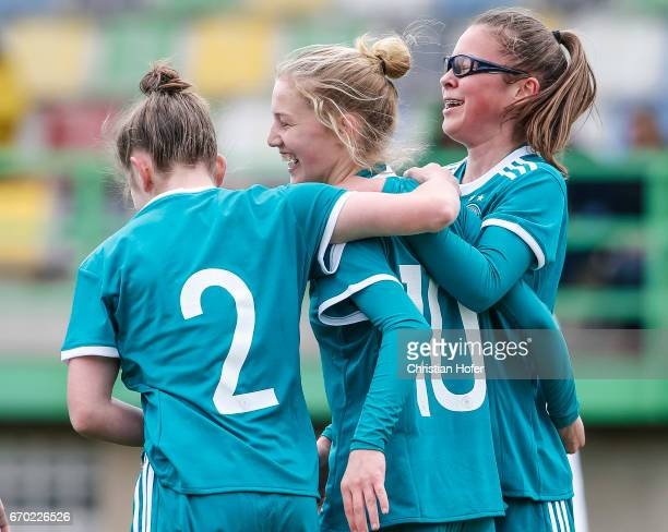 Nina Schumacher Sophie Krall and Julia Pollak of Germany celebrate after scoring during the Under 15 girls international friendly match between Czech...