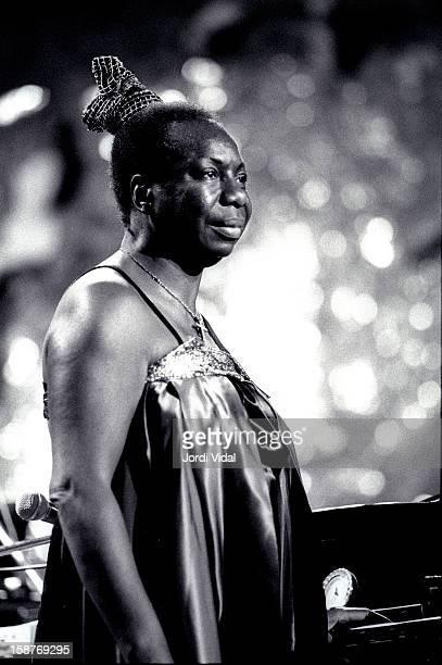 Nina Simone performs on stage during Festival Internacional de Jazz de Barcelona at Palau de la Musica in Barcelona Spain on October 28 1993