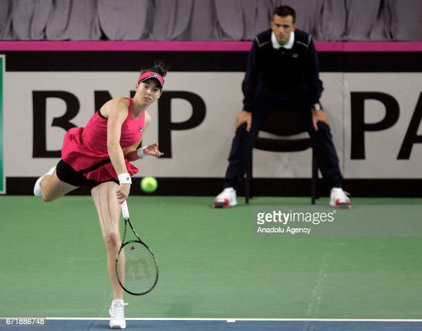 Nina Stojanovic of Serbia is in action against Daria Gavrilova of Australia during their Fed Cup EuropeAfrica Zone Group B match at Kristalna Dvorana...