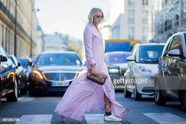 Nina Suess wearing Dior during the Paris Fashion Week Womenswear Spring/Summer 2016 on October 2 2015 in Paris France
