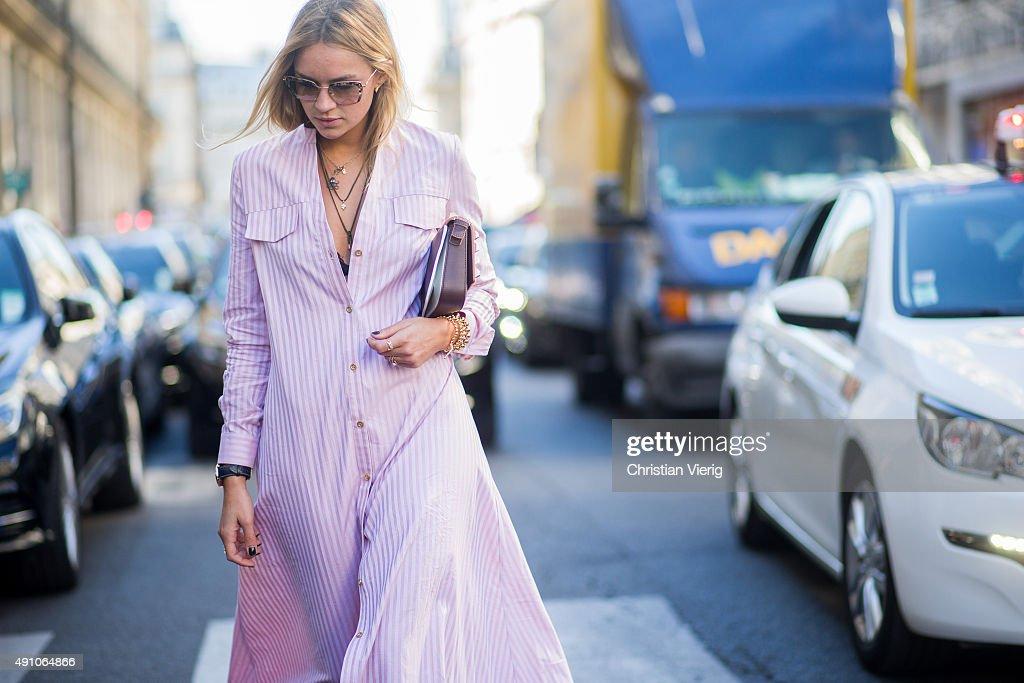 Nina Suess wearing Dior during the Paris Fashion Week Womenswear Spring/Summer 2016 on October 2 2015 in Paris France