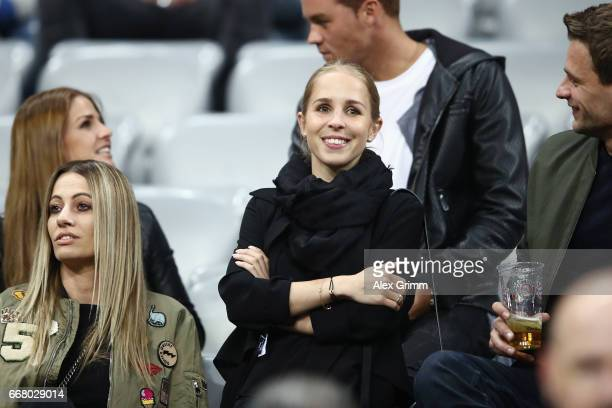 Nina Weiss partner of Manuel Neuer of Muenchen looks on prior to the UEFA Champions League Quarter Final first leg match between FC Bayern Muenchen...
