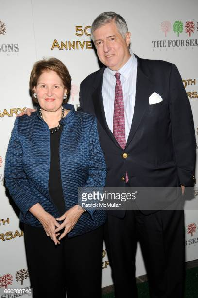 Nina Zagat and Tim Zagat attend THE FOUR SEASONS RESTAURANT 50th Anniversary ARRIVALS at The Four Seasons Restaurant on June 11 2009 in New York City