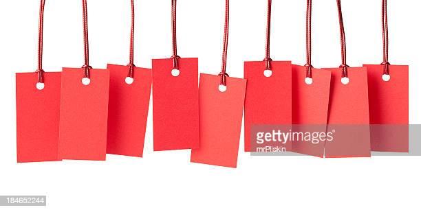 Neuf d'étiquettes de prix rouge vide