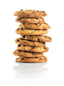 'Nine Chocolate Chip cookies stacked, white background'