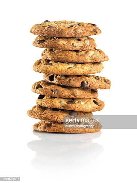 Nine Chocolate Chip cookies stacked, white background