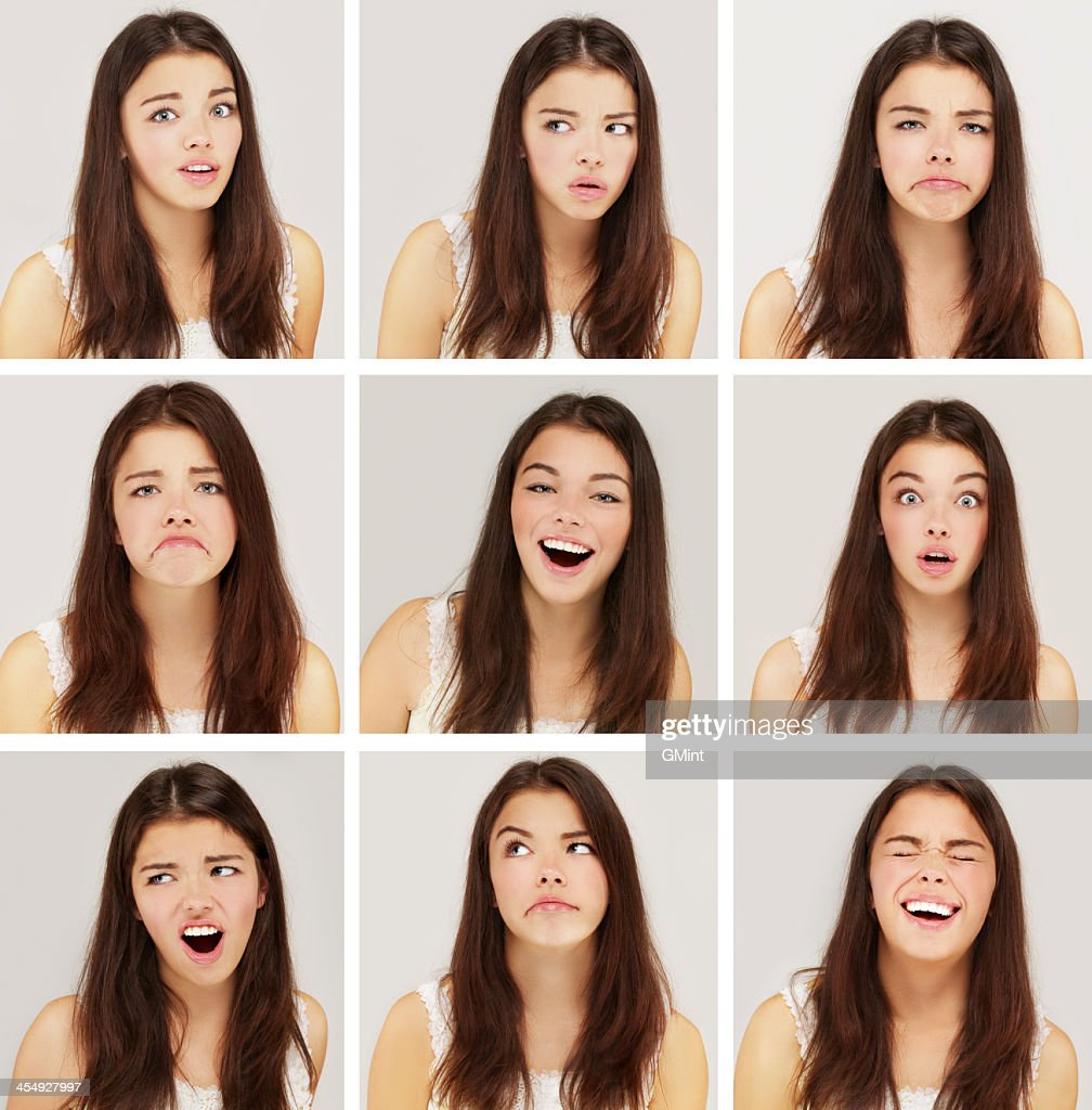 Nine images of a girl with different facial expressions