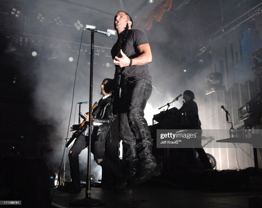 <a gi-track='captionPersonalityLinkClicked' href=/galleries/search?phrase=Nine+Inch+Nails&family=editorial&specificpeople=799973 ng-click='$event.stopPropagation()'>Nine Inch Nails</a> during KROQ Almost Acoustic Christmas 2005 - Day 1 - Show at Gibson Amphitheatre in Universal City, CA, United States.