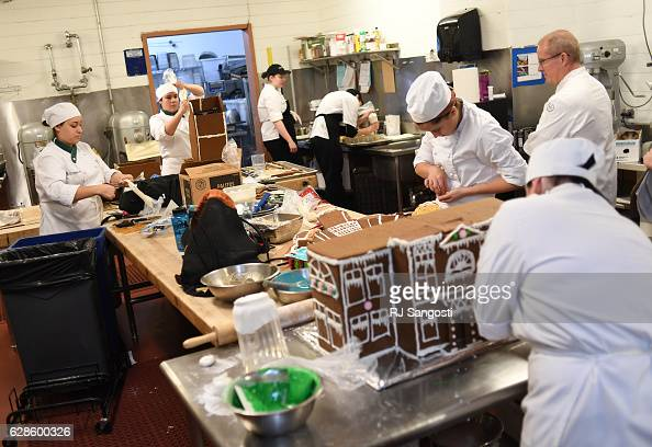 Nine Johnson Wales students take part in a gingerbread building competition to be displayed in the lobby of The Sheraton Denver Downtown Hotel...