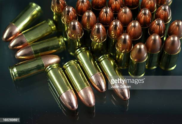 Nine millimeter bullets sit on the counter at Sportsmans Arms on April 2 2013 in Petaluma California In the wake of the Newtown Connecticut school...
