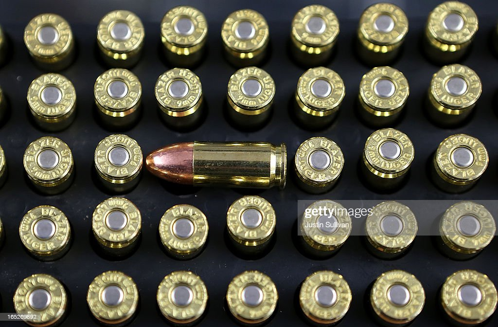 Nine millimeter bullets sit on the counter at Sportsmans Arms on April 2, 2013 in Petaluma, California. In the wake of the Newtown, Connecticut school massacare, California State lawmakers are introducing several bills that propose taxing and regulating sales of ammunition. Another bill is aimed to require a background check and annual permit fee to purchase any ammunition.