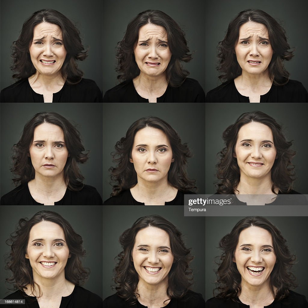 Middle aged woman face expressions.