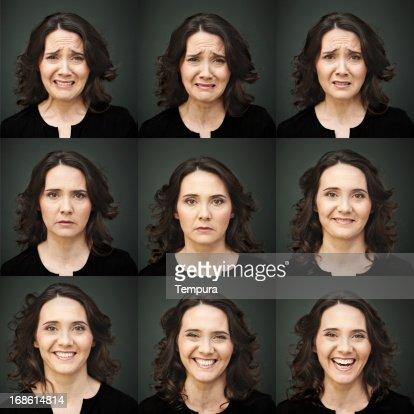 9 つの写真のコラージュを多く抱える女性