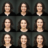 Nine different face expression. Composite of actress performing mood variation. More files of this model and series on port. Made with professional make-up and studio equipment.  Square format.