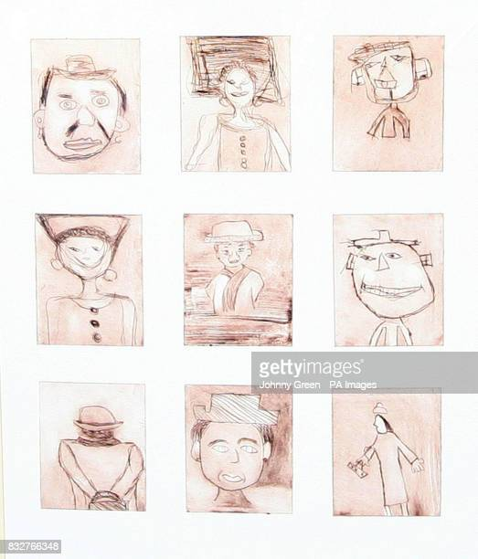 Nine portraits of Britain's Queen Elizabeth II drawn by children from Manor Primary School in Stratford under the guidance of artist Rolf Harris...