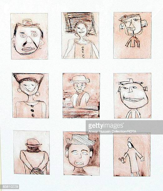 Nine portraits of HM Queen Elizabeth II drawn by children from Manor Primary School in Stratford under the guidance of Rolf Harris were mounted and...