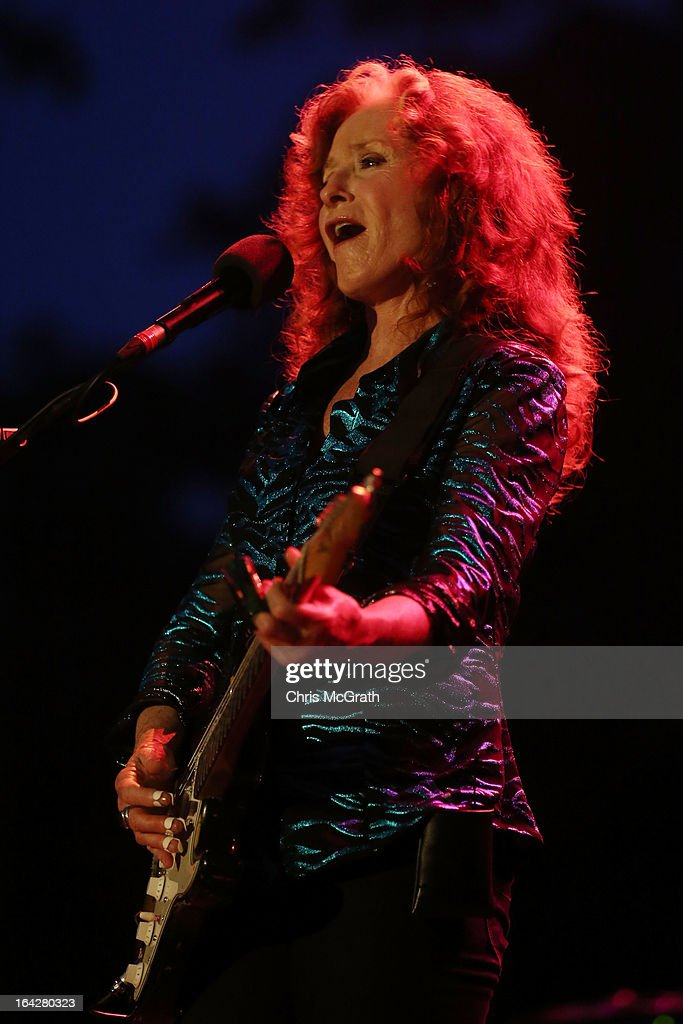 Nine time Grammy Award winner <a gi-track='captionPersonalityLinkClicked' href=/galleries/search?phrase=Bonnie+Raitt&family=editorial&specificpeople=213312 ng-click='$event.stopPropagation()'>Bonnie Raitt</a> performs on stage during the Timbre Rock & Roots Festival 2013 on March 22, 2013 in Singapore.