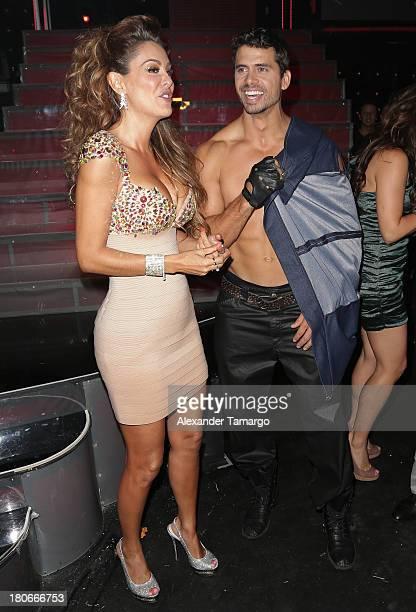 Ninel Conde and Pedro Moreno participate in the premiere of Univisions 'Mira Quien Baila' show at Univision Studios on September 14 2013 in Miami...