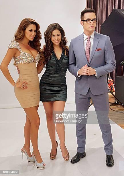 Ninel Conde Bianca Marroquin and Horacio Villalobos are seen backstage at the premiere of Univision's 'Mira Quien Baila' show at Univison Studios on...