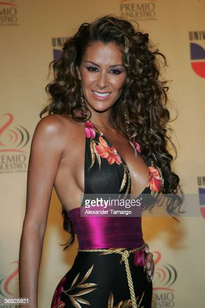 Ninel Conde poses for a photo in the press room during the 2006 Premio Lo Nuestro Awards at the American Airlines Arena February 23 2006 in Miami...