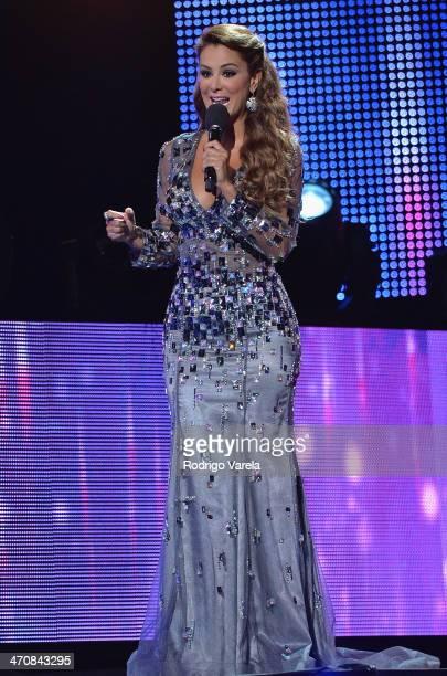 Ninel Conde speaks onstage at Premio Lo Nuestro a la Musica Latina 2014 at American Airlines Arena on February 20 2014 in Miami Florida