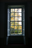 Nineovernine window at Historic Kenmore, 1775 home of Fielding Lewis and wife Betty, sister of George Washington, Fredericksburg, VA, U.S.A.