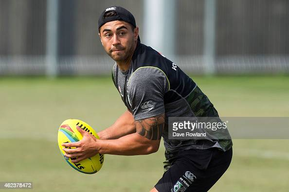 Nines captain Shaun Johnson catches the ball during a New Zealand Warriors NRL training session at Mt Smart Stadium on January 28 2015 in Auckland...
