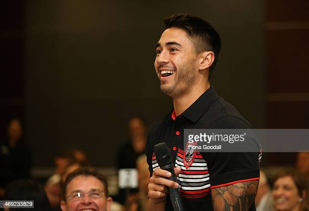 Nines Warriors captain Shaun Johnson answers questions during the Auckland Nines captain's and coach breakfast at the Pullman Hotel on February 14...