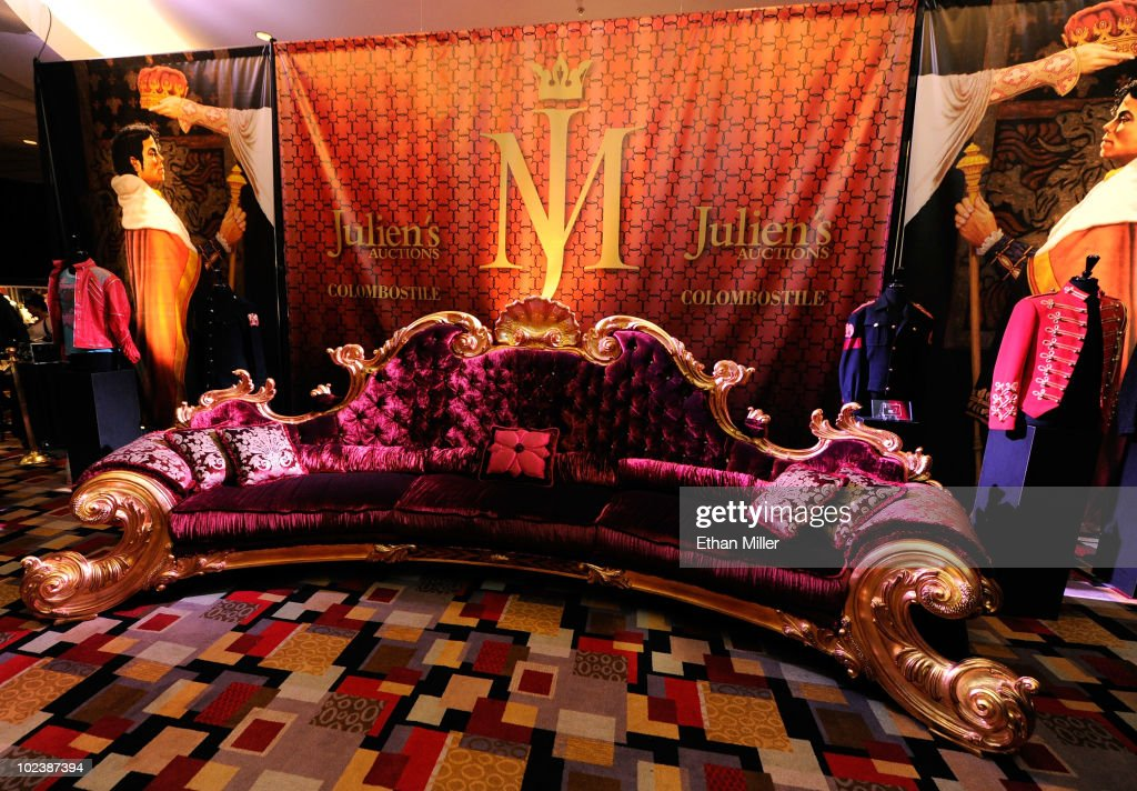 A nine-seat sofa commissioned by Michael Jackson for one of the sets of his 'This Is It' concert series is displayed at Julien's Auctions annual summer sale at the Planet Hollywood Resort & Casino June 24, 2010 in Las Vegas, Nevada. The auction, which continues through Sunday, features 1,600 items from entertainers including Michael Jackson, Anna Nicole Smith, Marilyn Monroe, Cher, Elvis Presley and Star Trek creator Gene Roddenberry.