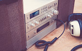 Nineties HiFi stereo set with speakers. Retro styled image.