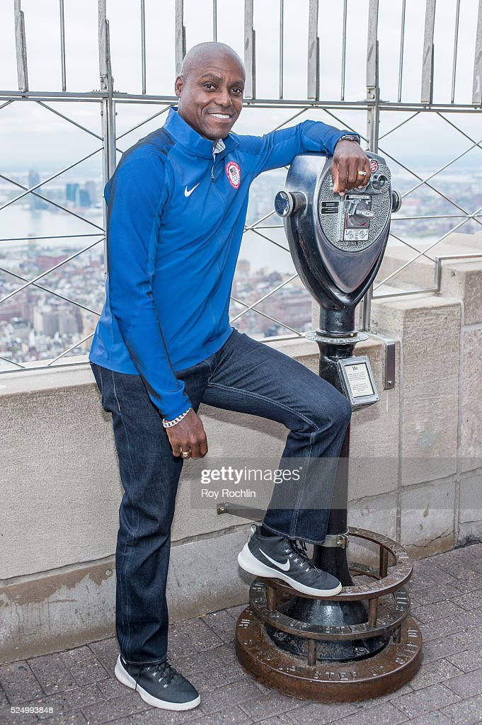 Nine-time Olympic champion track and field athlete Carl Lewis attends as Team USA Athletes light the Empire State Building red, white and blue to celebrate the 100 day countdown to the Rio 2016 Olympic Games at The Empire State Building on April 27, 2016 in New York City.