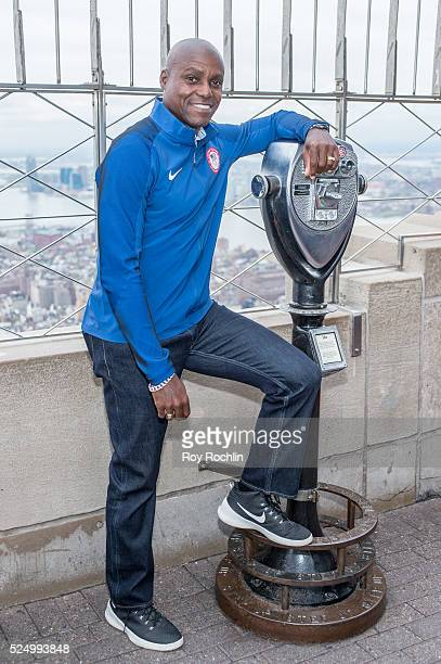 Ninetime Olympic champion track and field athlete Carl Lewis attends as Team USA Athletes light the Empire State Building red white and blue to...