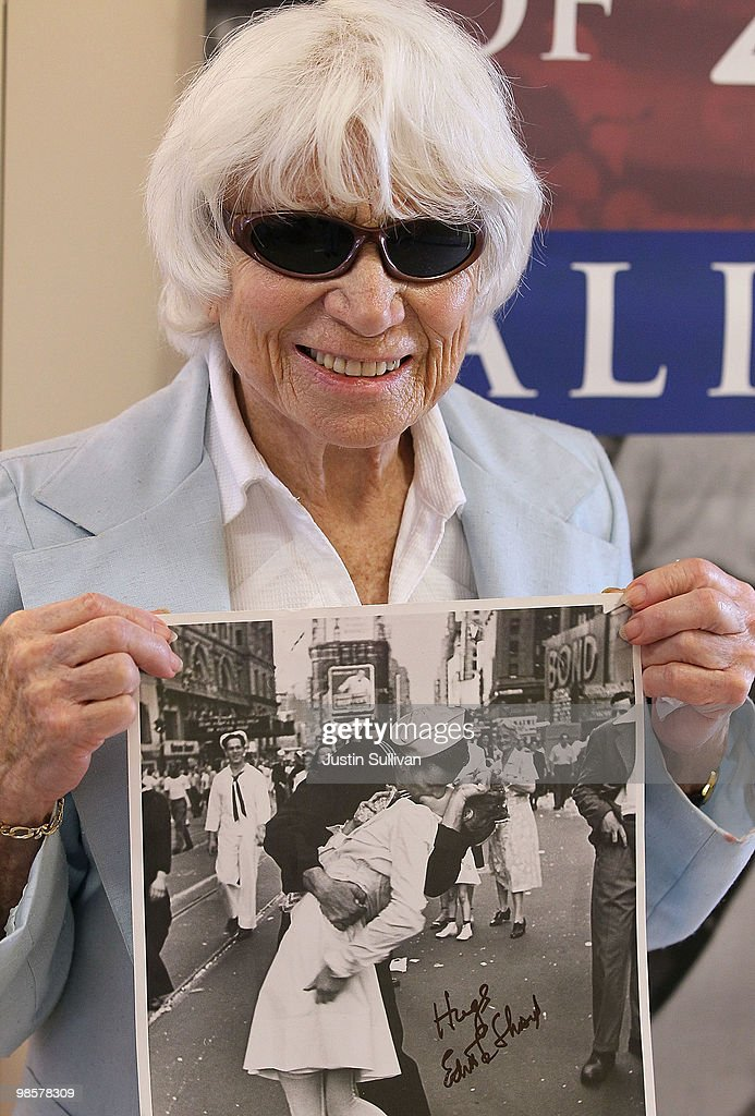 Ninety one-year-old <a gi-track='captionPersonalityLinkClicked' href=/galleries/search?phrase=Edith+Shain&family=editorial&specificpeople=828490 ng-click='$event.stopPropagation()'>Edith Shain</a> poses with a photo of her famous kiss with a sailor on V-J Day at the end of World War II April 20, 2010 in San Francisco, California. Shain, who claims to be the nurse in the famous kiss picture that was photographed by Alfred Eisenstaedt was meeting with veterans at the VA Hospital as part of her 'Keep the Spirit Alive' campaign that raises awareness about the 65th anniversary of World War II.