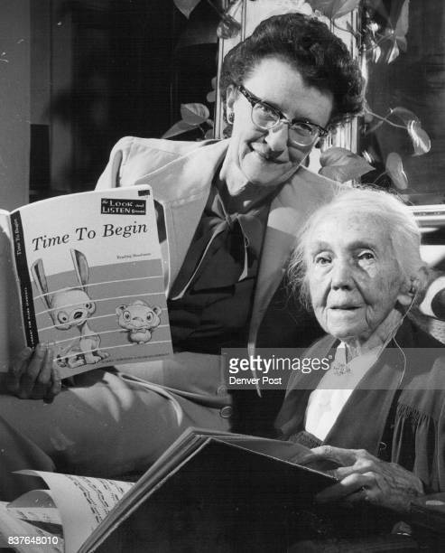 Ninetynineyearold Mrs Alma Rigg and her daughter Miss Virginia Rigg 1675 S Steele St compare piano instruction books of yesterday and today Miss Rigg...