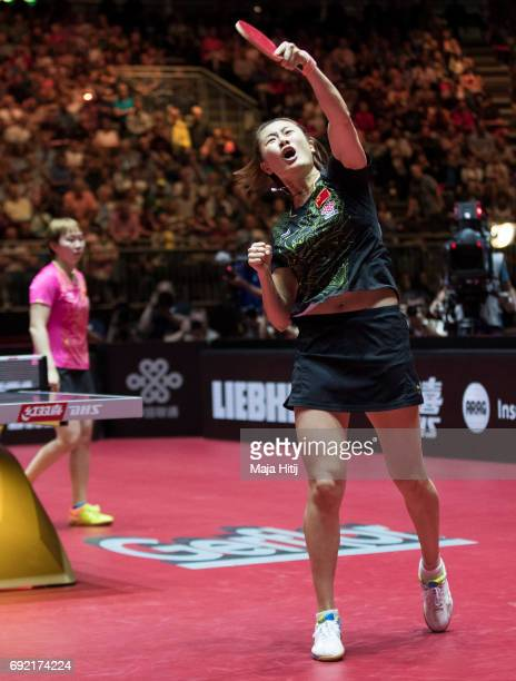 Ning Ding of China celebrates after winning Women's Singles Final against Yuling Zhu of China at Table Tennis World Championship at Messe Duesseldorf...