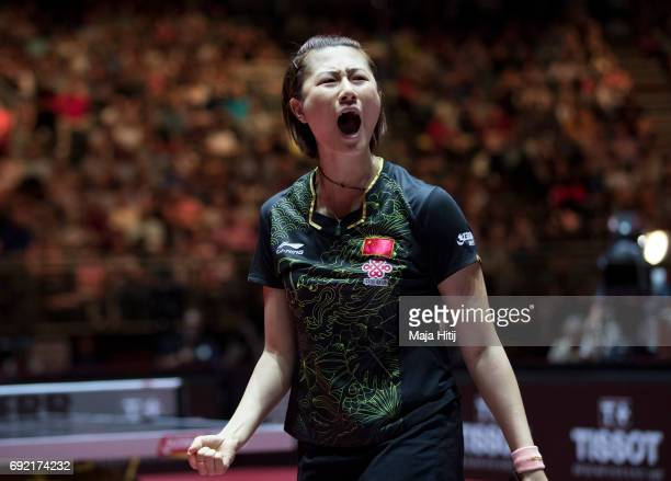 Ning Ding of China celebrates during Women's Singles Final against Yuling Zhu of China at Table Tennis World Championship at Messe Duesseldorf on...