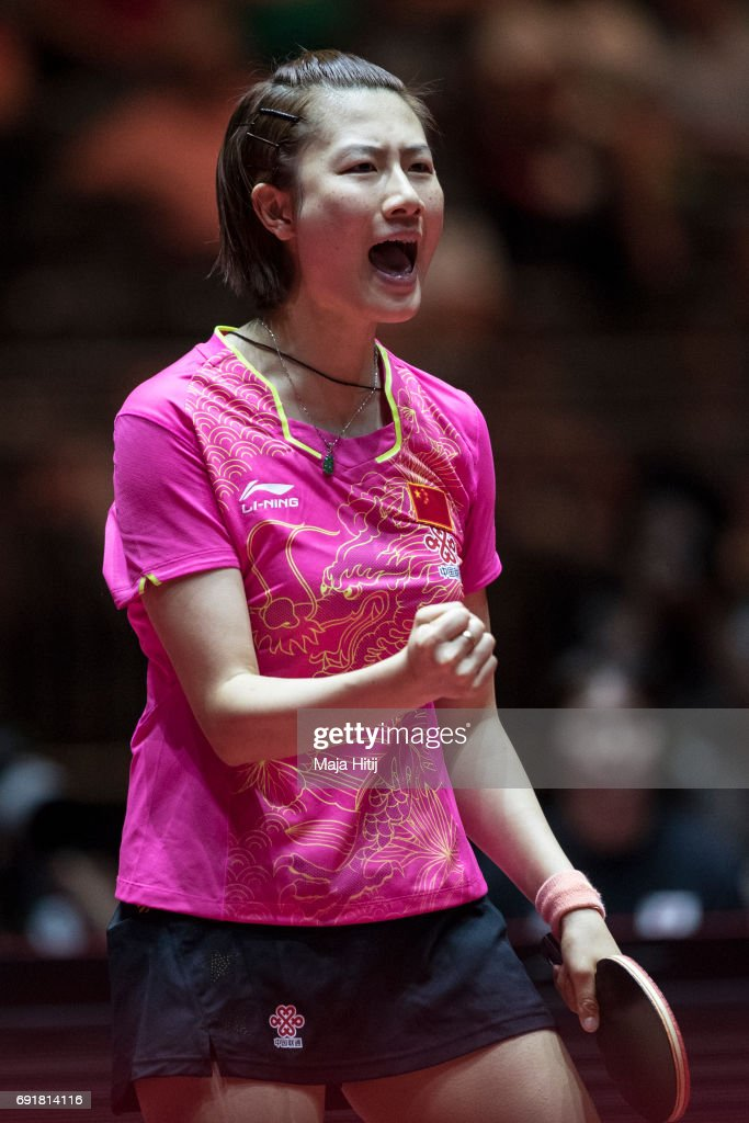 Ning Ding of China celebrates during Women's Singles semi-finals at Table Tennis World Championship at Messe Duesseldorf on June 3, 2017 in Dusseldorf, Germany.