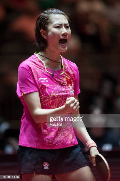Ning Ding of China celebrates during Women's Singles semifinals at Table Tennis World Championship at Messe Duesseldorf on June 3 2017 in Dusseldorf...