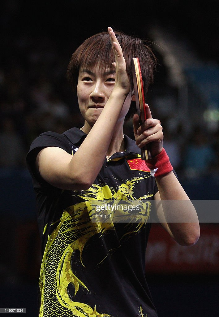 Ning Ding of China celebrates victory after the Women's Singles Table Tennis quarterfinal match against Ai Fukuhara of Japan on on Day 4 of the...