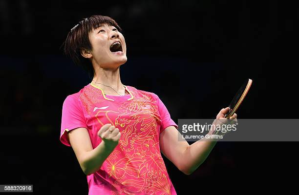 Ning Ding of China celebrates victory over Li Xiaoxia of China during the Womens Table Tennis Singles Final match at Rio Centro on August 10 2016 in...