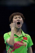 Ning Ding of China celebrates winning against Tianwei Feng of Singapore during the Women's Singles Table Tennis semifinal match on Day 4 of the...
