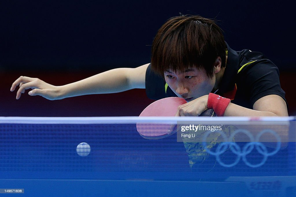 Ning Ding of China competes during the Women's Singles Table Tennis quarter-final match against Ai Fukuhara of Japan on Day 4 of the London 2012 Olympic Games at ExCeL on July 31, 2012 in London, England.