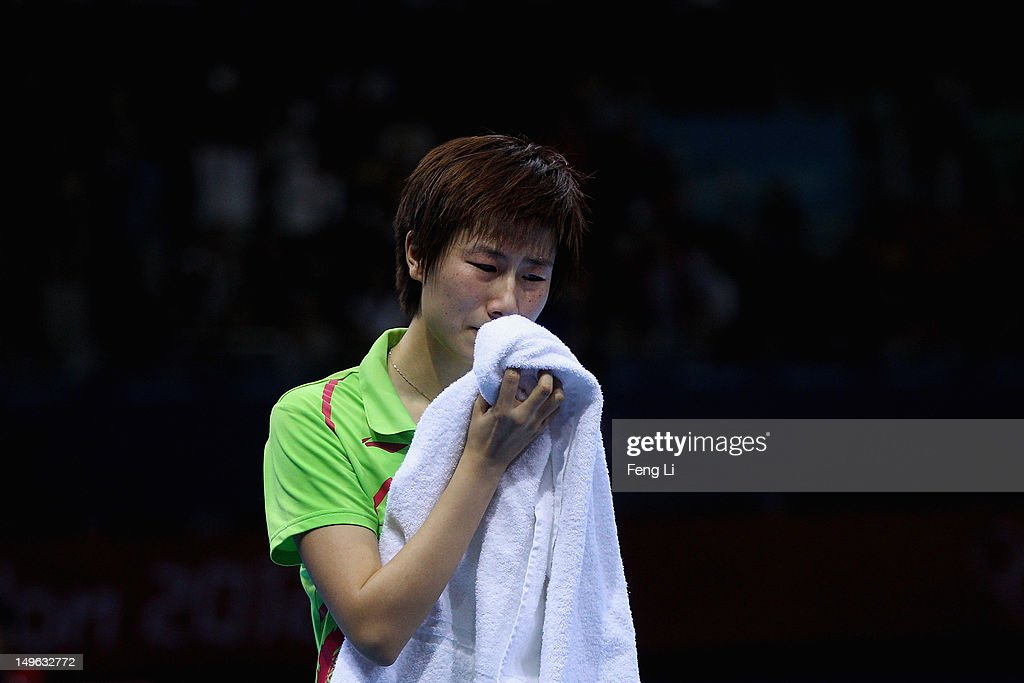 Ning Ding of China cries after the Women's Singles Table Tennis Gold Medal match against Xiaoxia Li of China on Day 5 of the London 2012 Olympic Games at ExCeL on August 1, 2012 in London, England.