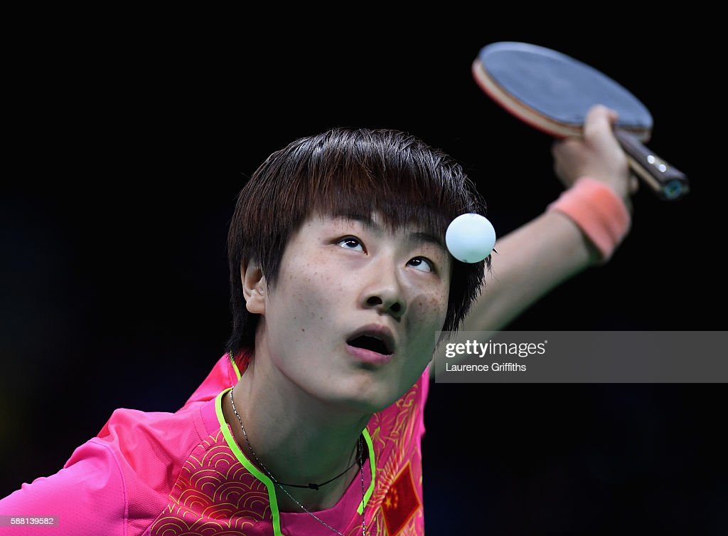 Ning Ding of China in action during her Womens Table Tennis Singles Semi Final match against I Song Kim of Democratic Peoples Republic of Korea at...