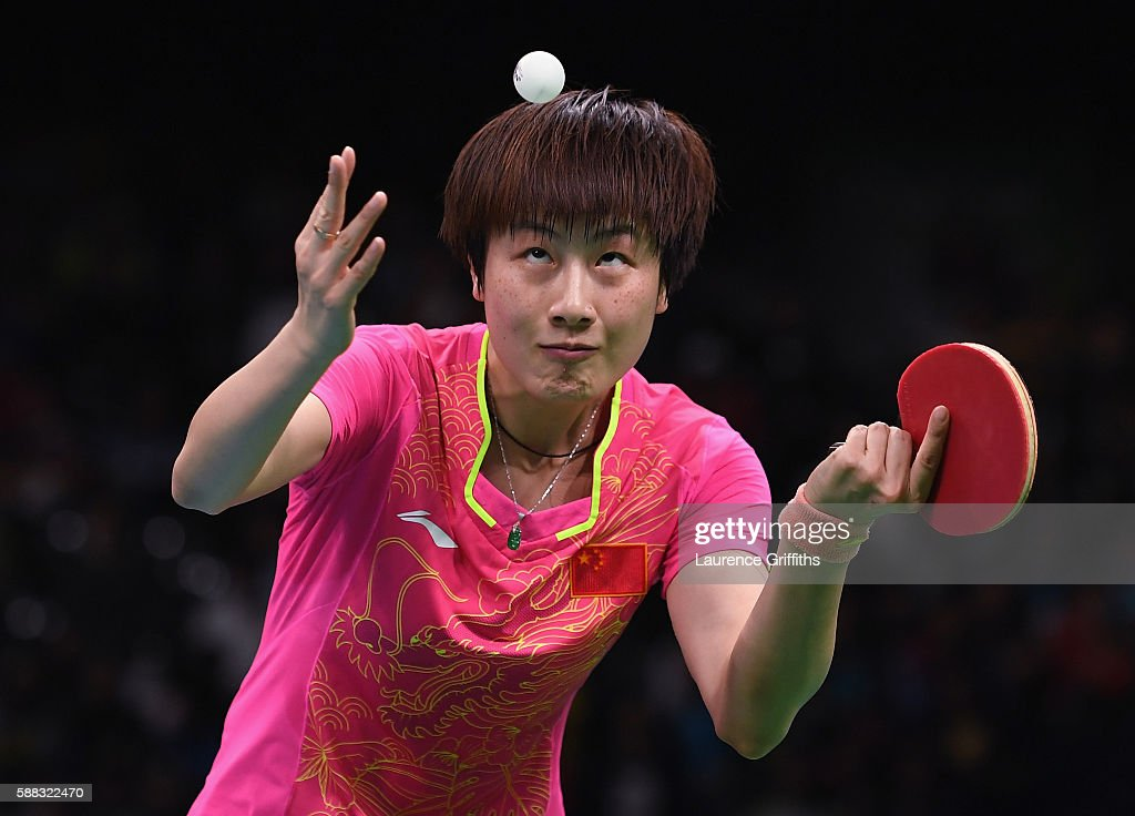 Ning Ding of China in action during the Womens Table Tennis Singles Final match against Li Xiaoxia of China dat Rio Centro on August 10 2016 in Rio...