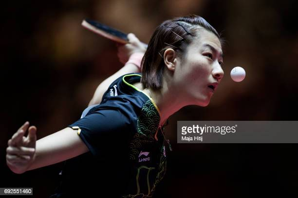 Ning Ding of China in action during Women's Singles Final at Table Tennis World Championship at at Messe Duesseldorf on June 4 2017 in Dusseldorf...